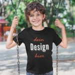 Schwarzes Kinder T-Shirt zum selber bedrucken perfekt als Geschenkidee - TeeFarm Schweiz