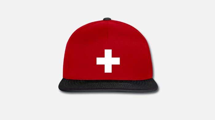 Schweizer Cap - rotes cap mit schweizerkreuz