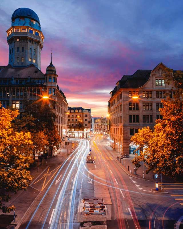 Langzeitbelichtung von Zürich