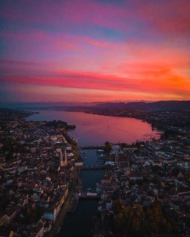 Zürich von oben Abendort
