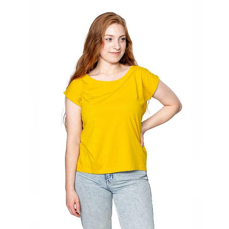 Gelbes Frauen T-Shirt mit gerollten Ärmeln