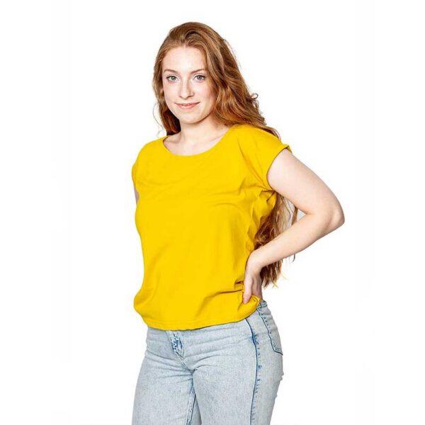 Frauen T-Shirt mit gerollten Ärmeln Gelb