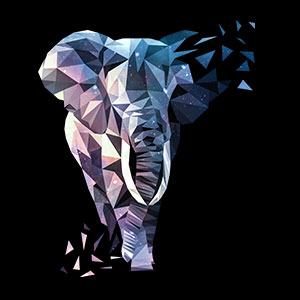 Low Poly Elefant Modernes Design