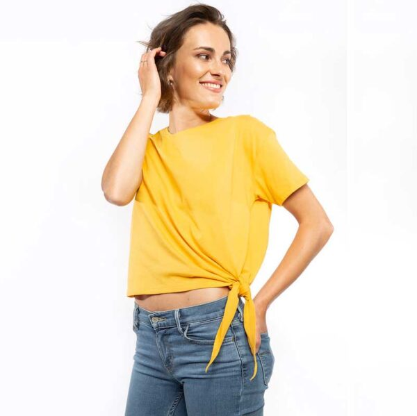 Knoten T-Shirt Gelb