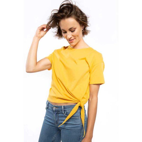 Frauen Knoten T-Shirt Gelb