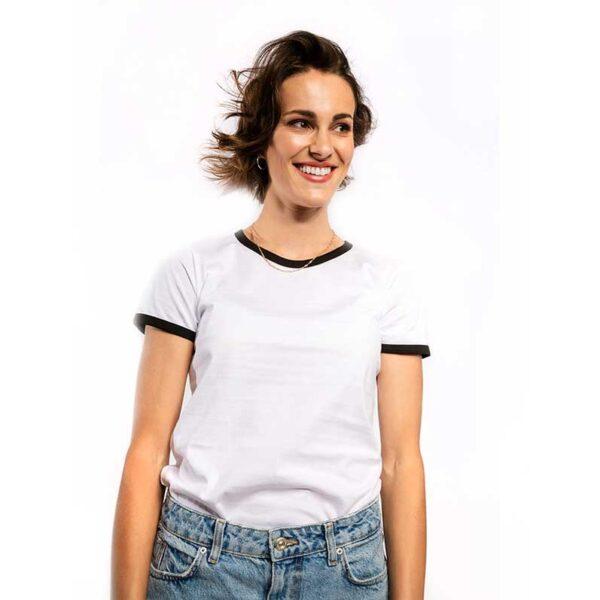 Frauen Kontrast-T-Shirt weiss