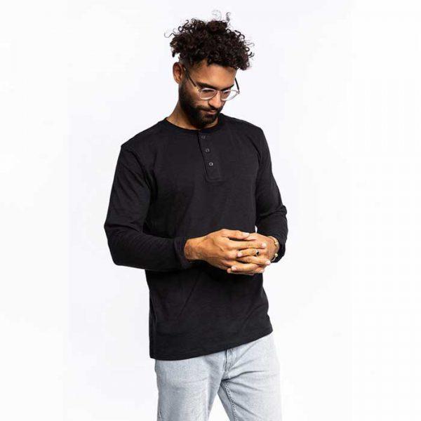 henley langarmshirt schwarz